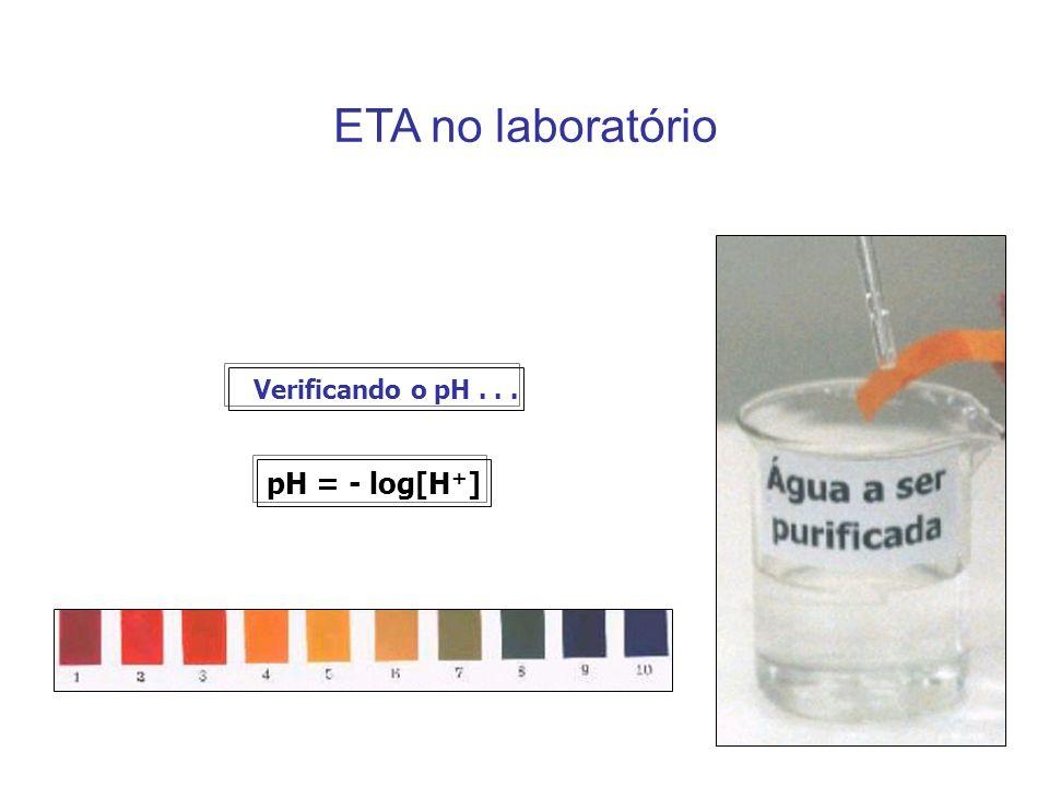 ETA no laboratório Verificando o pH . . . pH = - log[H+]